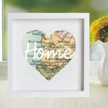 Vintage Map Framed Heart Print Displaying Your Chosen Location - Unique Wedding, Anniversary Gift, Housewarming, Bon Voyage Present